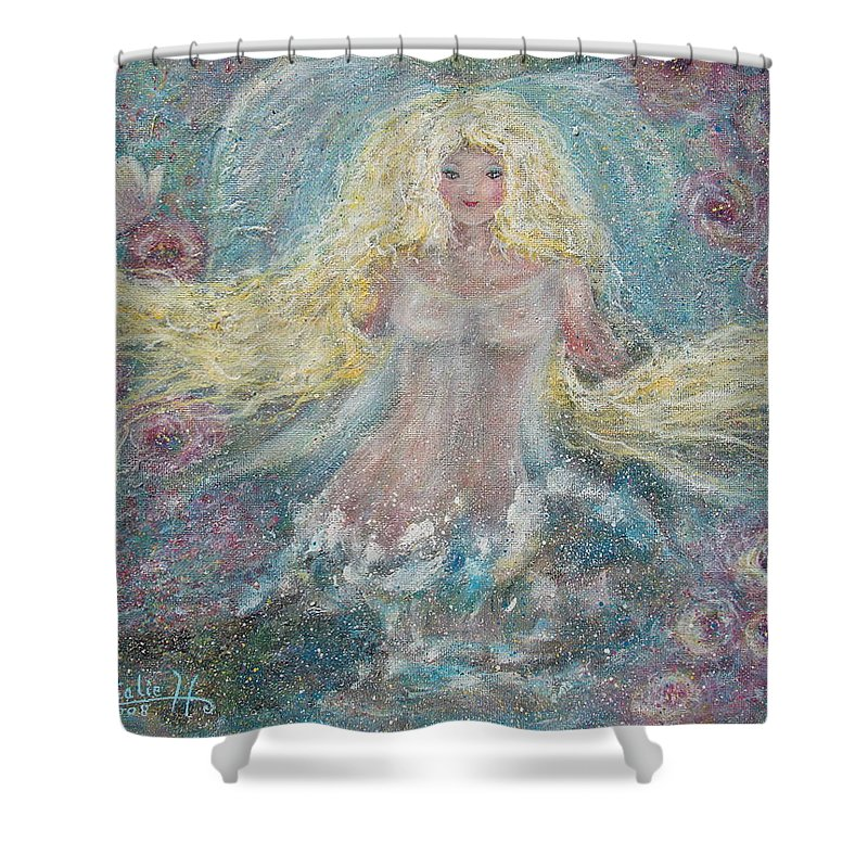 Angel Shower Curtain featuring the painting Secret Garden Angel 3 by Natalie Holland