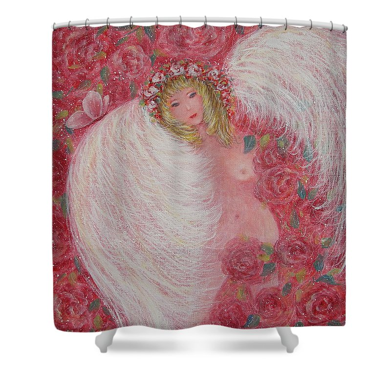 Angel Shower Curtain featuring the painting Secret Garden Angel 6 by Natalie Holland