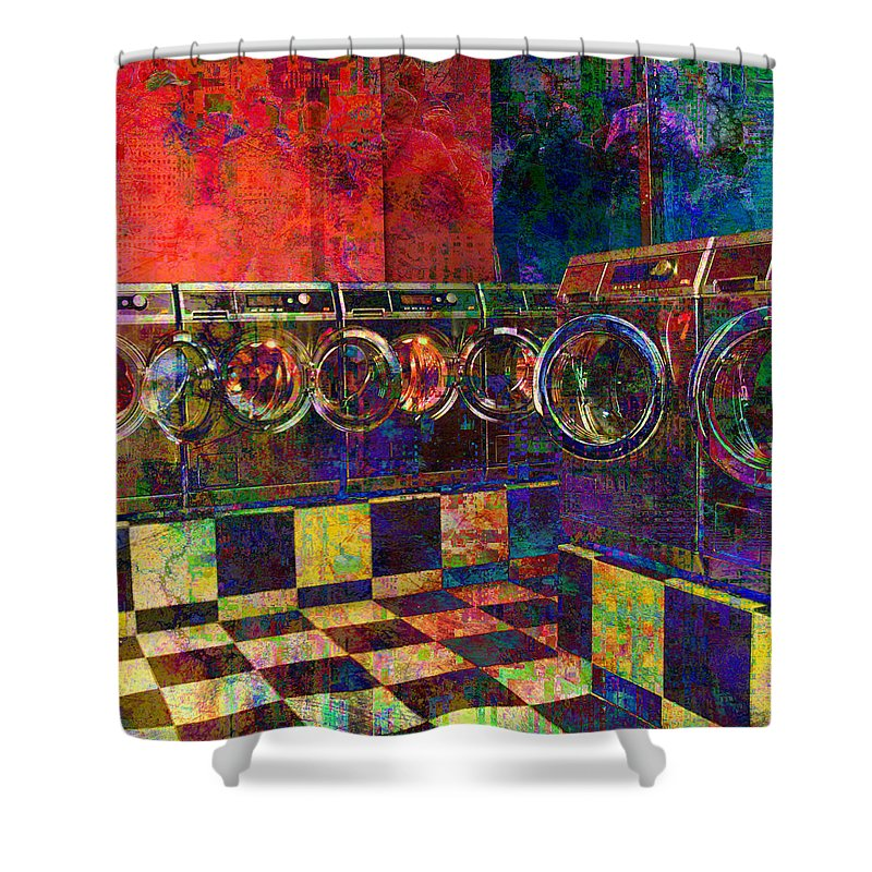 Laundry Shower Curtain featuring the digital art Secret Life Of Laundromats by Barbara Berney