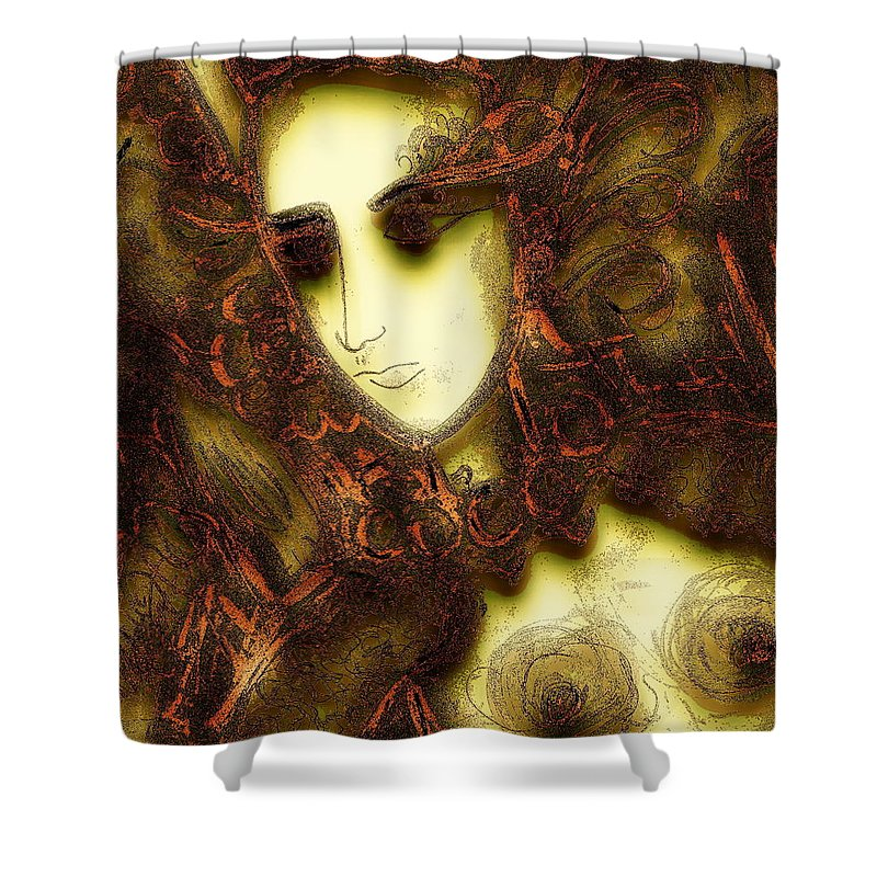 Nymph Shower Curtain featuring the painting Secret Nymph by Natalie Holland
