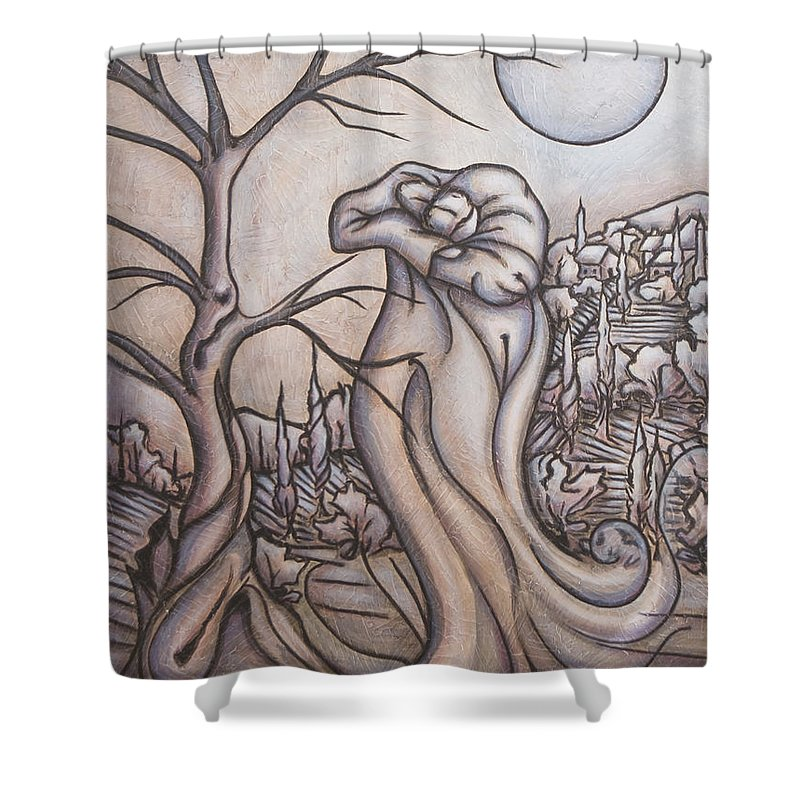 Dream. Moon Shower Curtain featuring the painting Secrets And Dreams by Judy Henninger