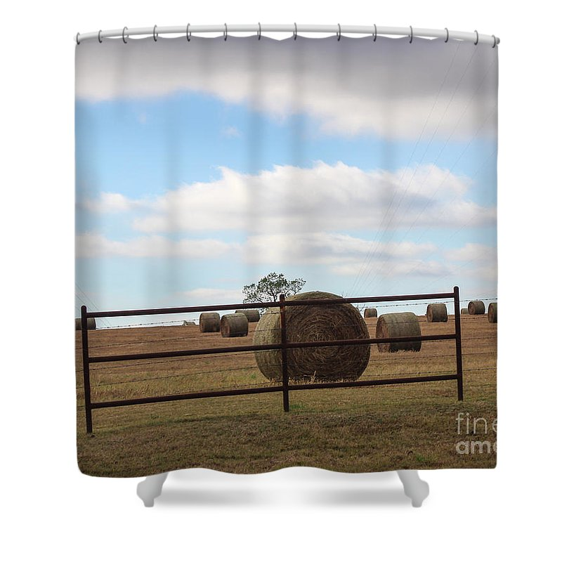Field Shower Curtain featuring the photograph Secure Fence by Laura Deerwester