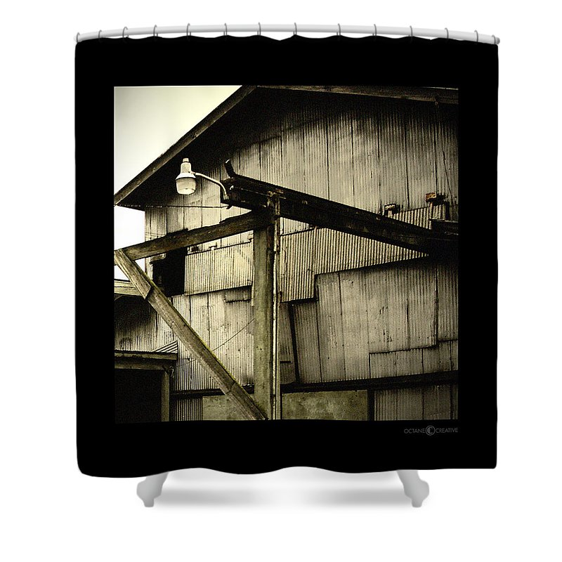 Corrugated Shower Curtain featuring the photograph Security Light by Tim Nyberg