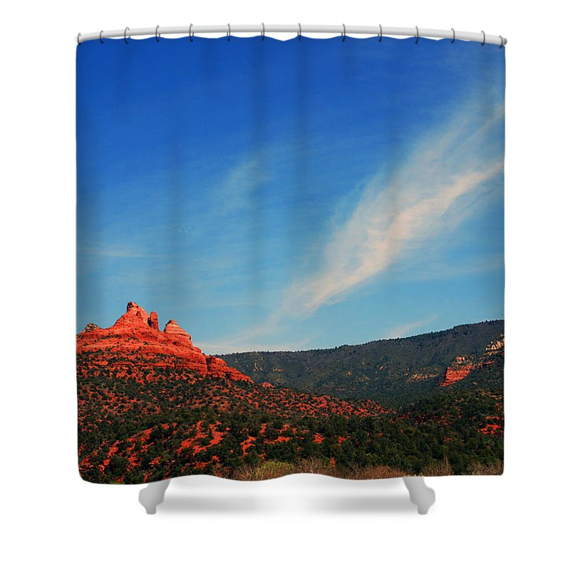 Photography Shower Curtain featuring the photograph Sedona Clouds by Susanne Van Hulst