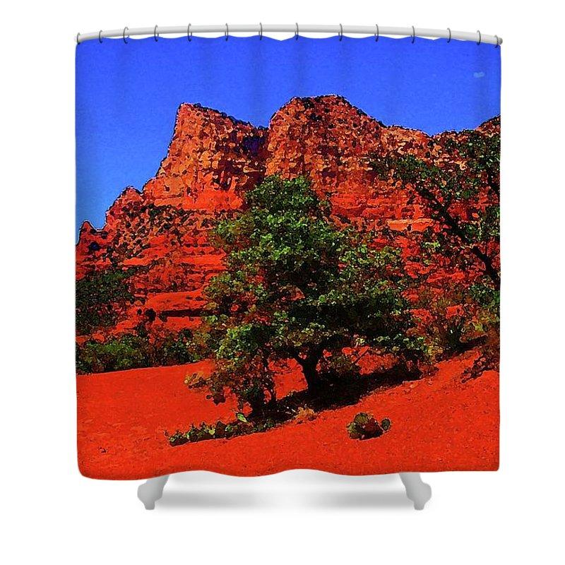 Sedona Shower Curtain featuring the digital art Sedona Red Rock by Ronald Irwin