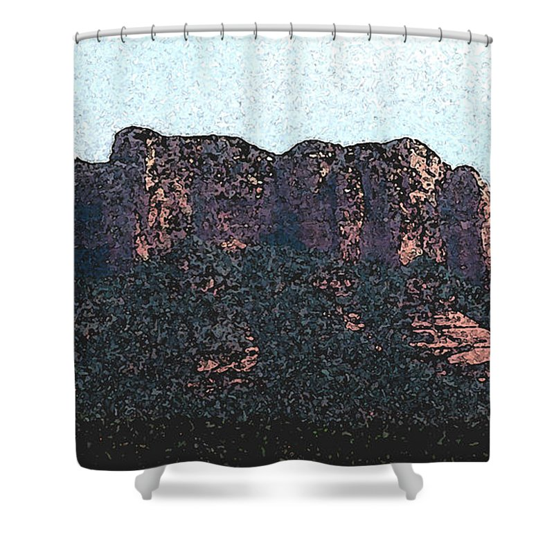 Altered Photography Shower Curtain featuring the photograph Sedona Rock Formation by Wayne Potrafka