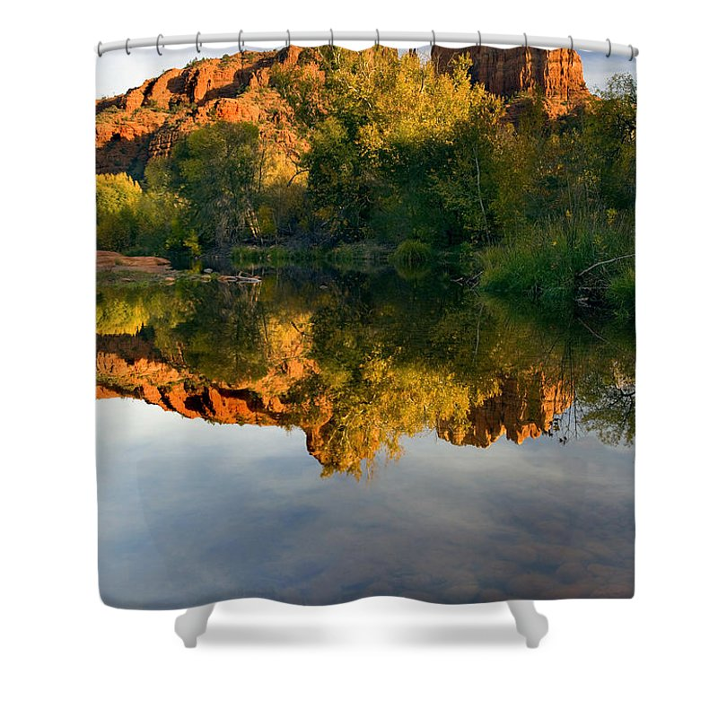 Reflection Shower Curtain featuring the photograph Sedona Sunset by Mike Dawson