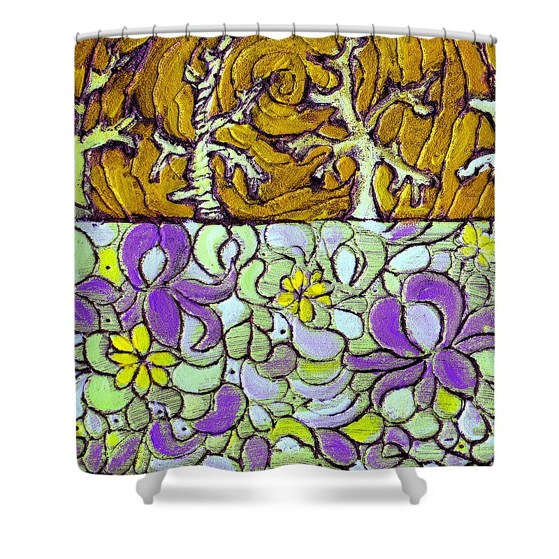 Meadow Shower Curtain featuring the painting Seduced By The Meadow by Wayne Potrafka