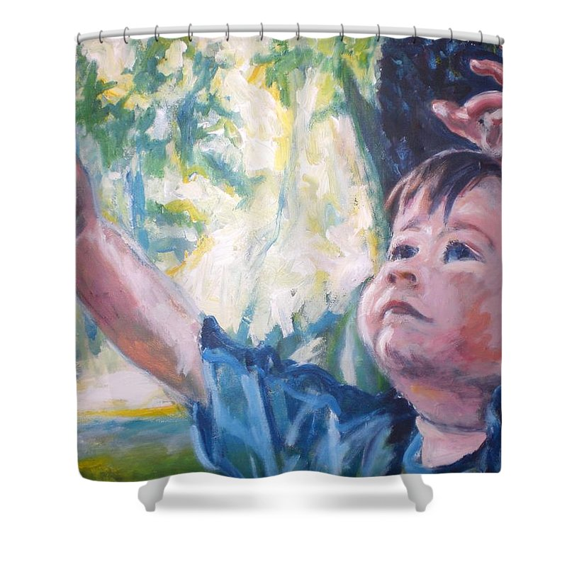 Boy Shower Curtain featuring the painting See Tree Ganma by Sheila Holland