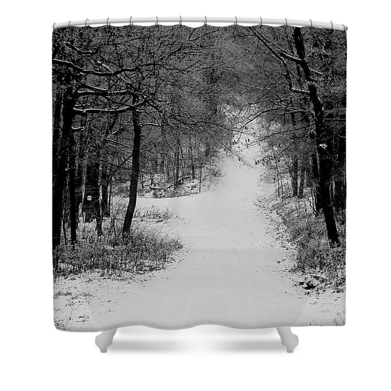 Snow Shower Curtain featuring the photograph See Where It Leads. by Jean Macaluso