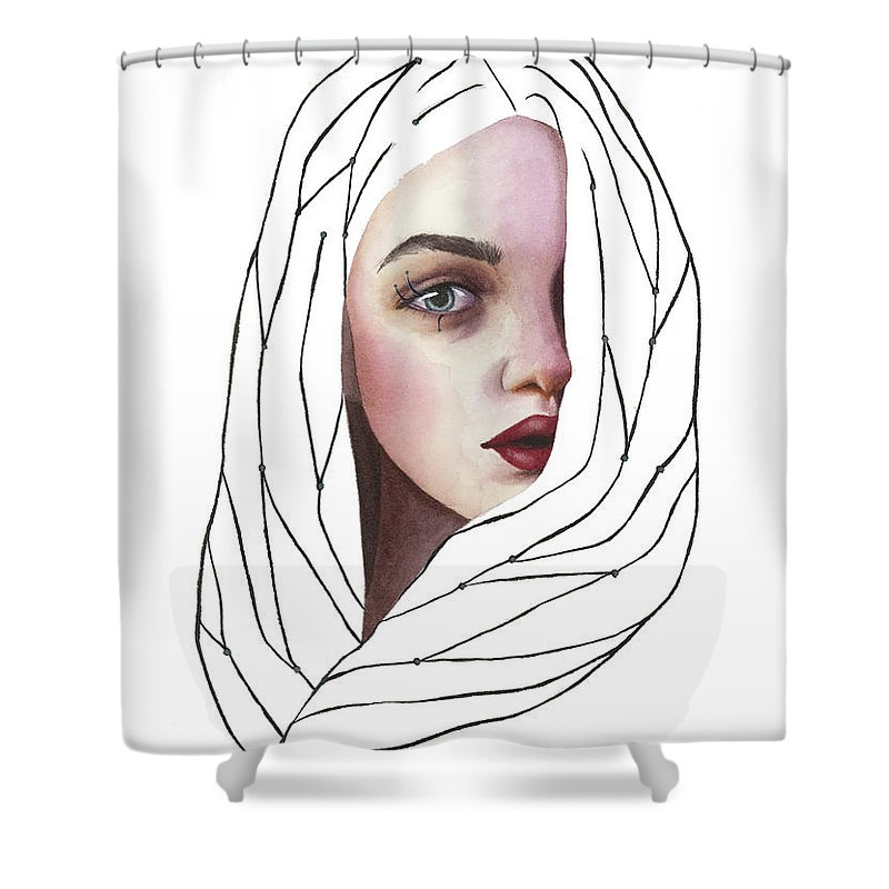 Watercolor Shower Curtain featuring the painting Seeing You by Zapista