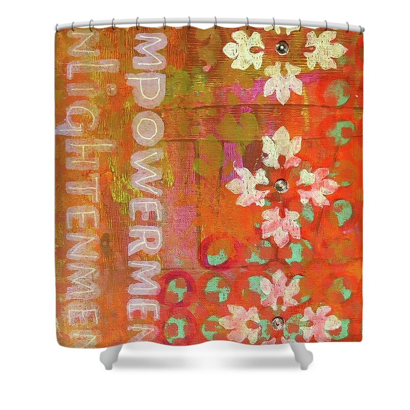Contemporary Art Shower Curtain featuring the mixed media Seeking by Desiree Paquette