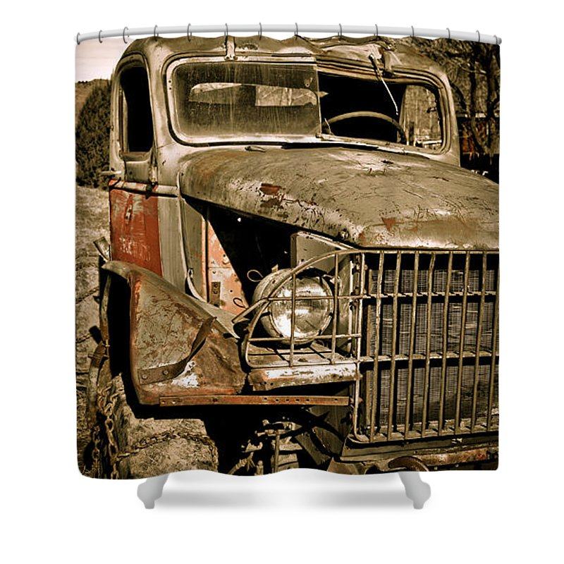 Old Vintage Antique Truck Worn Western Shower Curtain featuring the photograph Seen Better Days by Marilyn Hunt