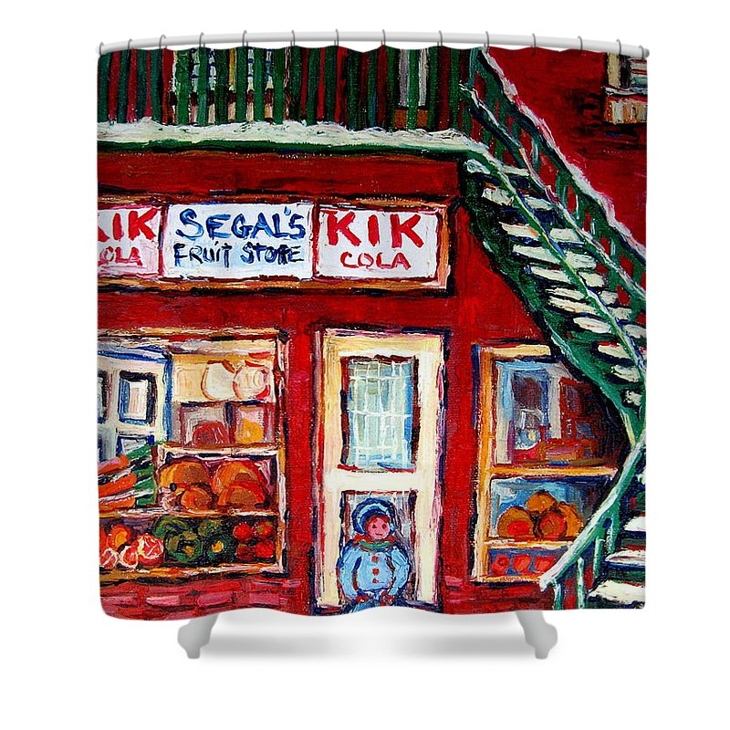 Segal Shower Curtain featuring the painting Segal's Market St.lawrence Boulevard Montreal by Carole Spandau