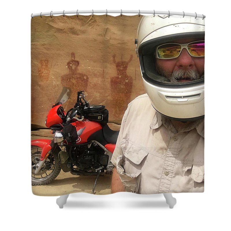 Sego Shower Curtain featuring the photograph Sego Canyon Self Portrait by Ron Brown Photography