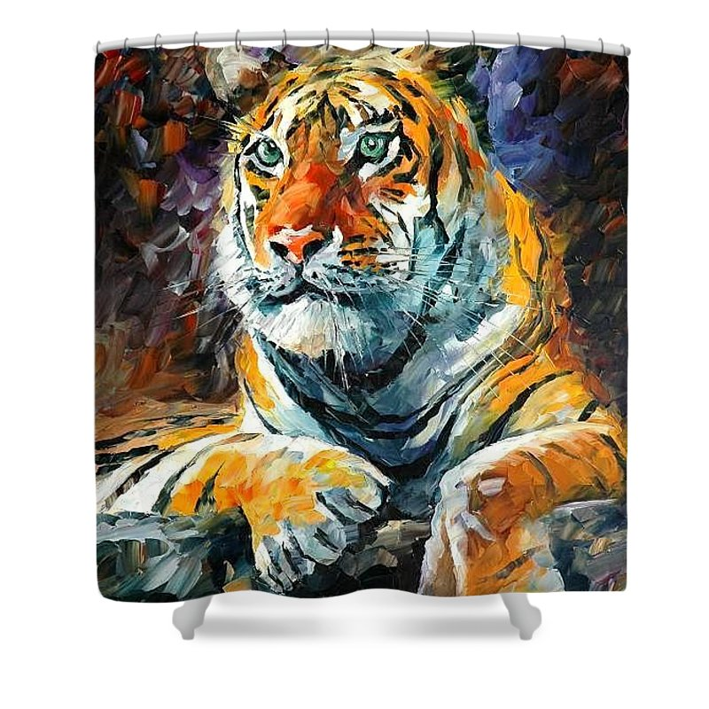 Painting Shower Curtain featuring the painting Seibirian Tiger by Leonid Afremov