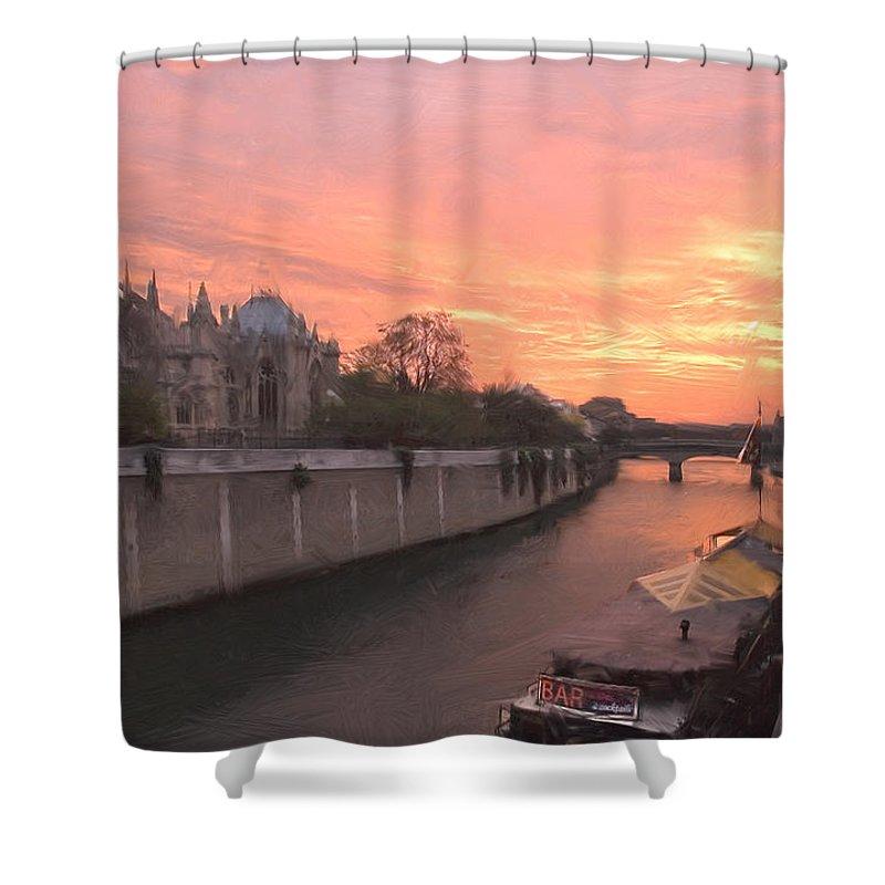 Paris Shower Curtain featuring the digital art Seine River by Mick Burkey