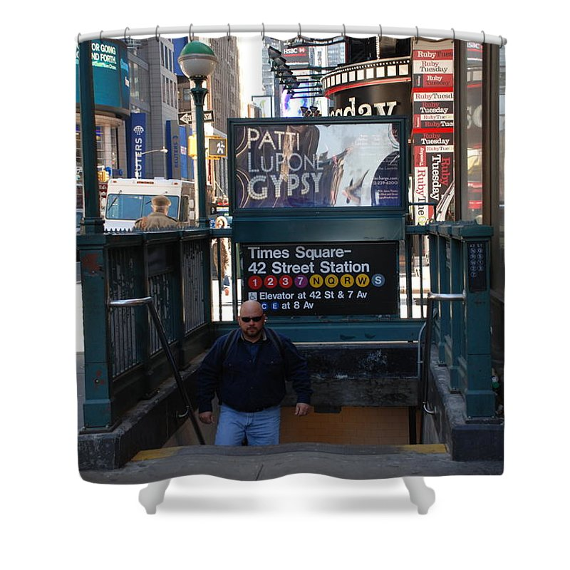 Subay Shower Curtain featuring the photograph Self At Subway Stairs by Rob Hans
