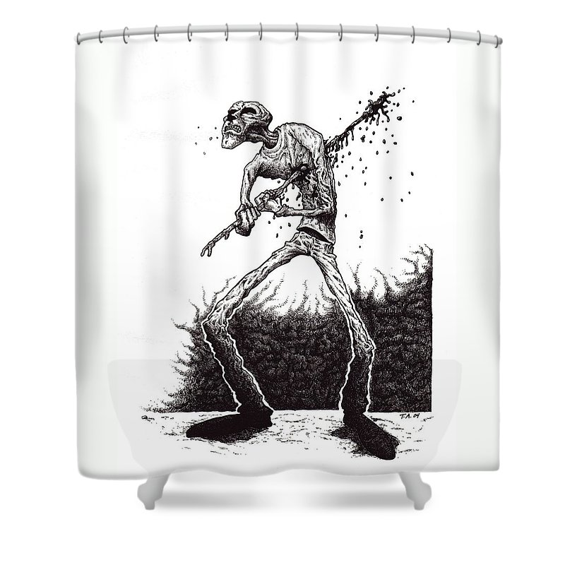 Dark Shower Curtain featuring the drawing Self Inflicted by Tobey Anderson