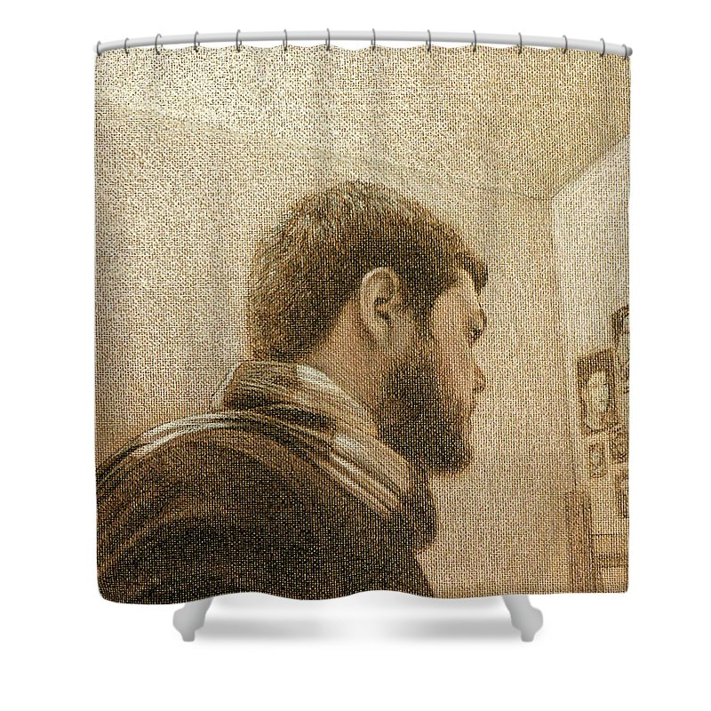 Shower Curtain featuring the painting Self by Joe Velez