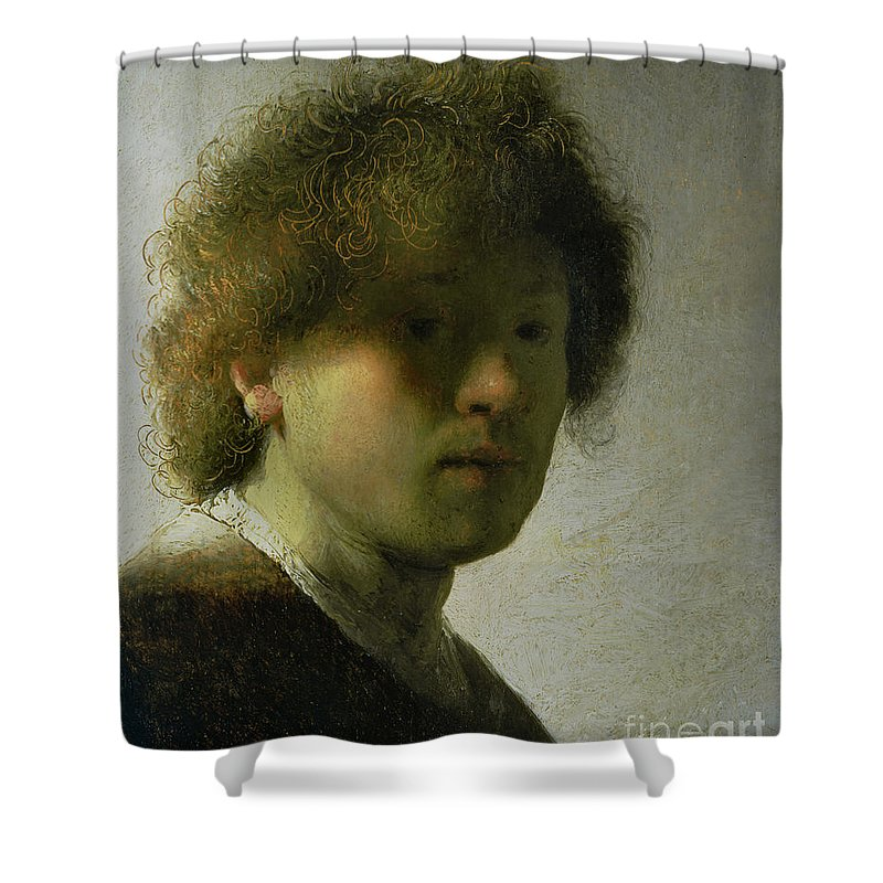 Self Shower Curtain featuring the painting Self Portrait As A Young Man by Rembrandt