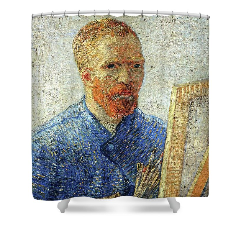 Vincent Van Gogh Shower Curtain featuring the painting Self Portrait As An Artist by Vincent Van Gogh