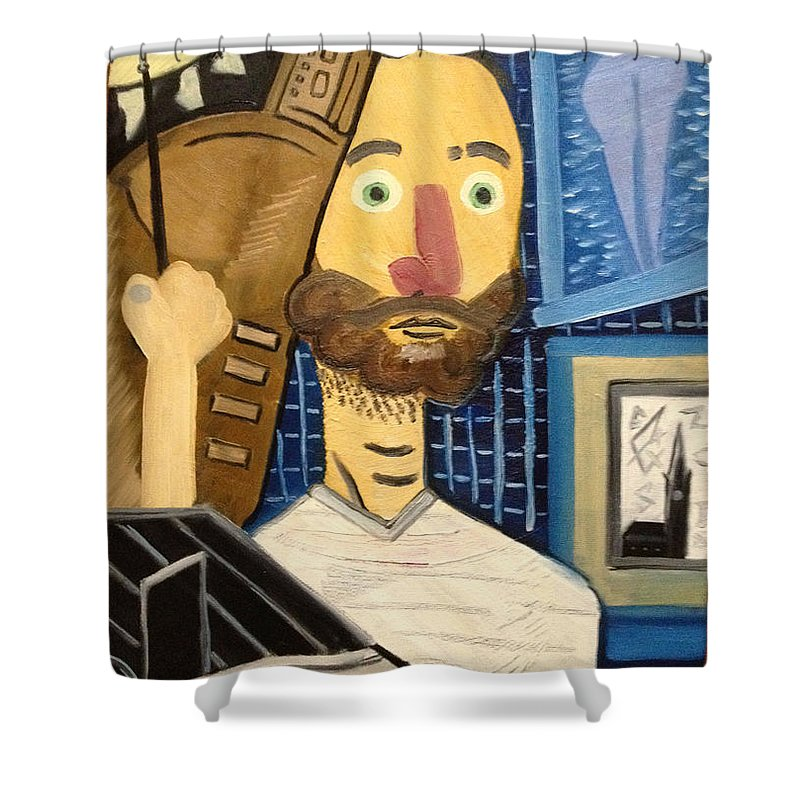 Self-portrait Painter Homage To Picasso Modern Blue Nude Oil Paint Brush Shower Curtain featuring the painting Self-portrait As Homage To Picasso by Costin Tudor