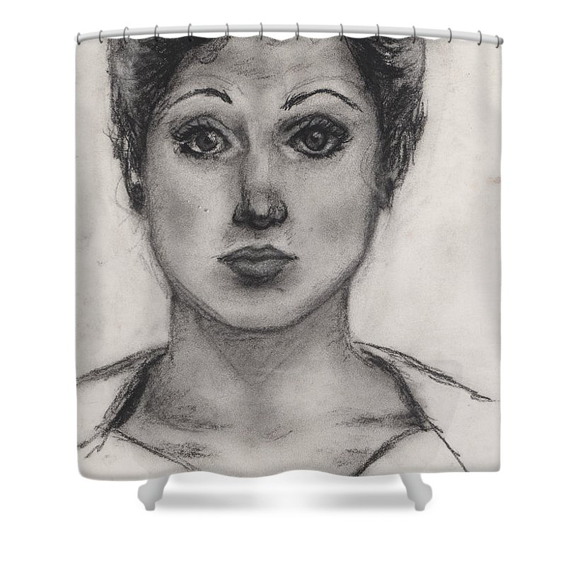 Nadine Shower Curtain featuring the drawing Self Portrait At Age 18 by Nadine Rippelmeyer