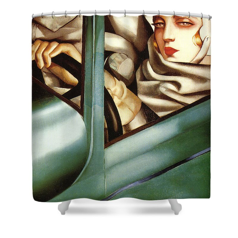 self portrait in a green bugatti shower curtain for saletamara
