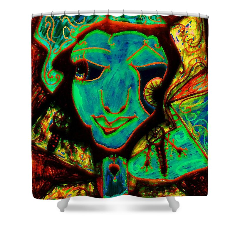 Fantasy Shower Curtain featuring the painting Self Portrait by Natalie Holland