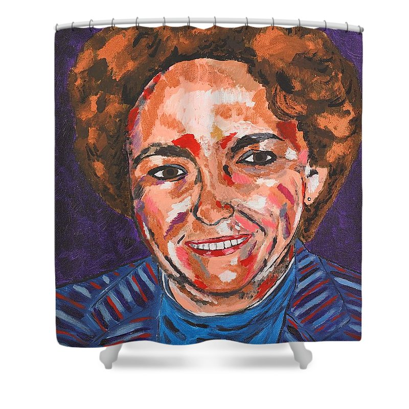 Portrait Shower Curtain featuring the painting Self-portrait With Blue Jacket by Valerie Ornstein