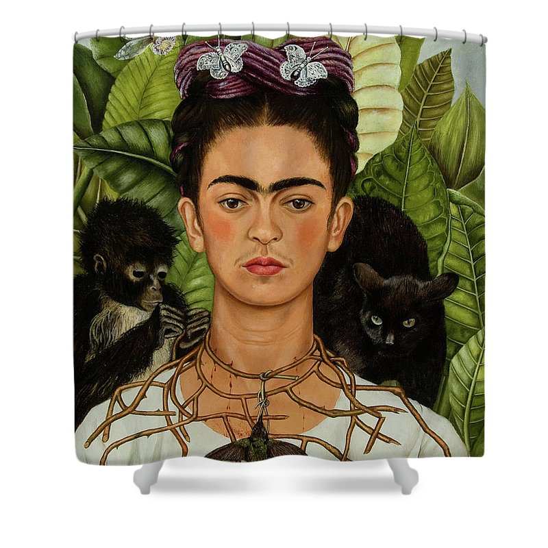 Self Portrait With Thorn Necklace And Hummingbird Shower Curtain For Sale By Frida Kahlo