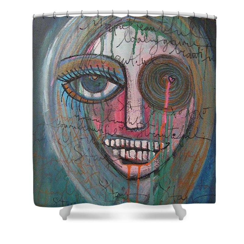 Self Portraits Shower Curtain featuring the painting Self Portrait Youre Beautiful by Laurie Maves ART