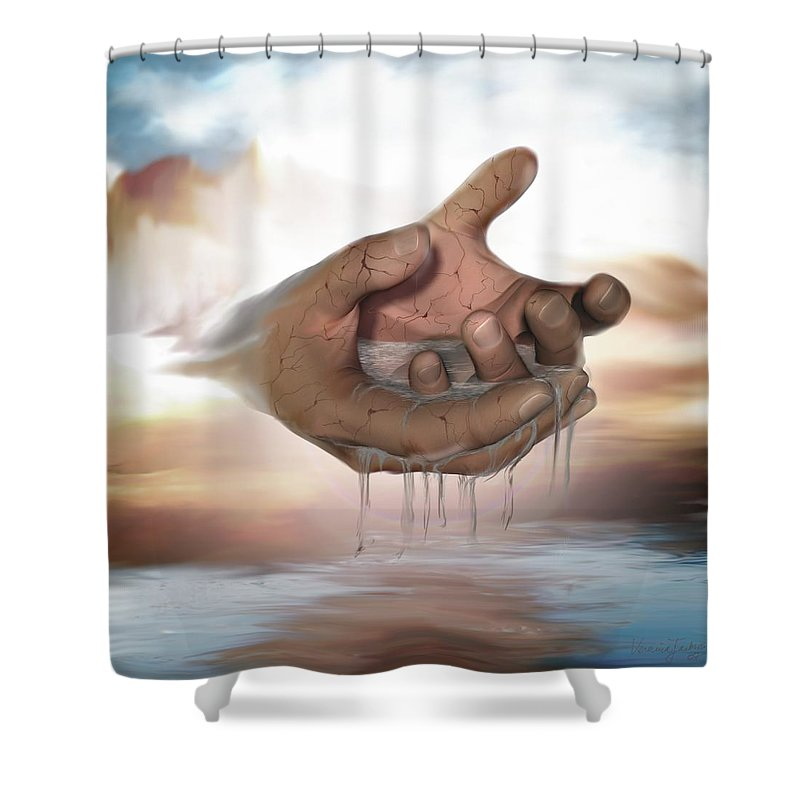 Hands Nature Water Landscape Life God Shower Curtain featuring the digital art Self-replenishing Nature by Veronica Jackson