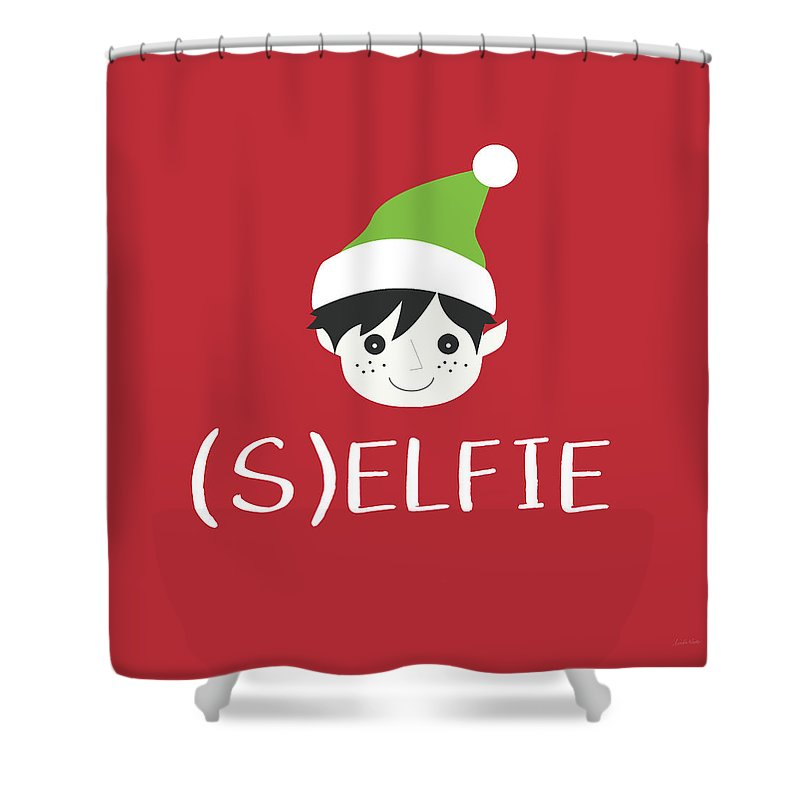 Christmas Shower Curtain Featuring The Digital Art Selfie Elf By Linda Woods