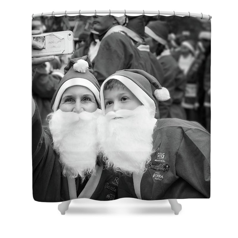 Alan Brown Shower Curtain featuring the photograph Selfie With Santa by Alan Brown
