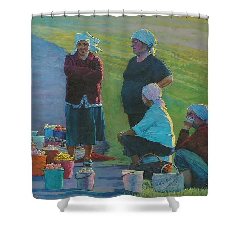 People Shower Curtain featuring the painting Sellers Of Apples by Alexander Chernitsky
