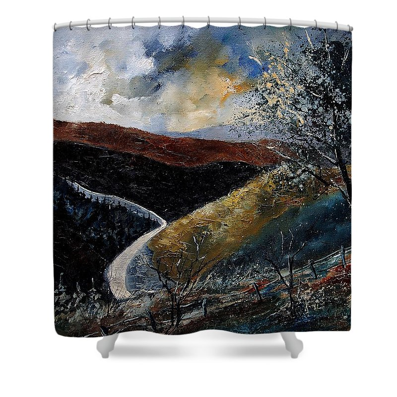 River Shower Curtain featuring the painting Semois Valley by Pol Ledent