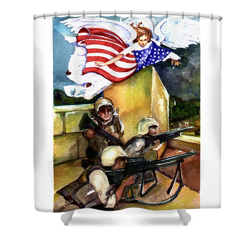 Elle Fagan Shower Curtain featuring the painting Semper Fideles - Iraq by Elle Smith Fagan