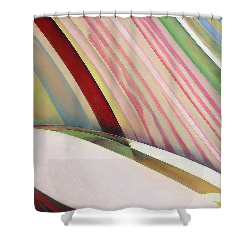 Abstract Shower Curtain featuring the painting Sens 1 by Muriel Dolemieux