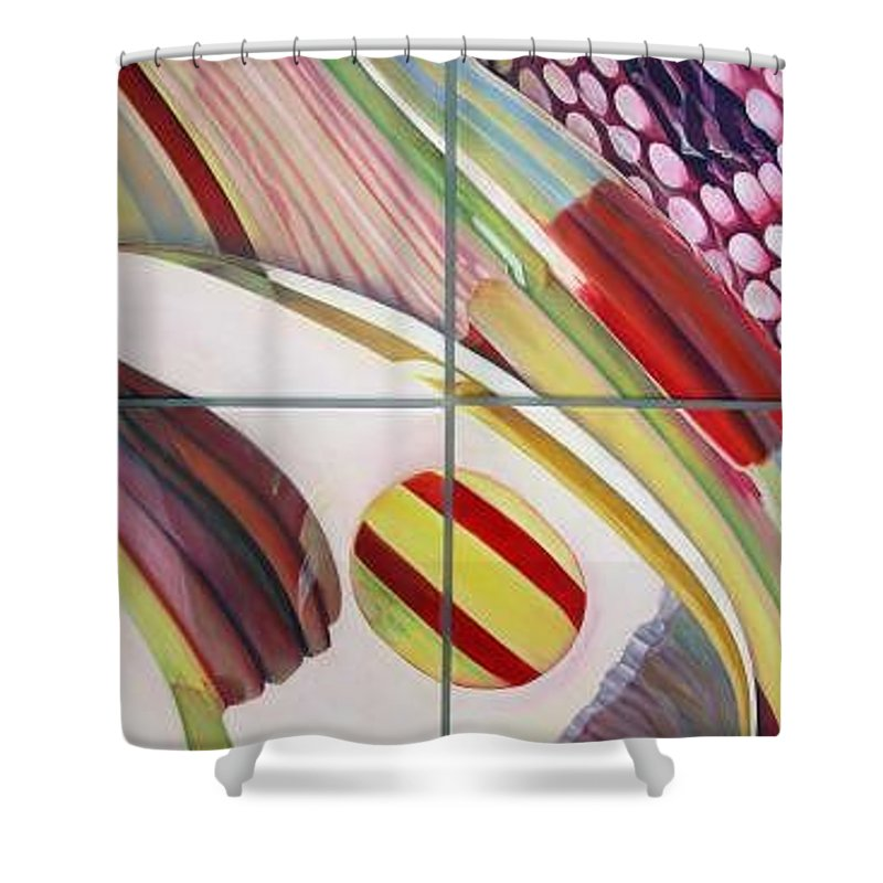 Abstract Shower Curtain featuring the painting Sens by Muriel Dolemieux