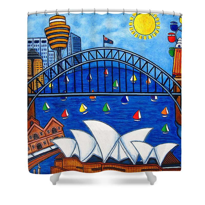 House Shower Curtain featuring the painting Sensational Sydney by Lisa Lorenz