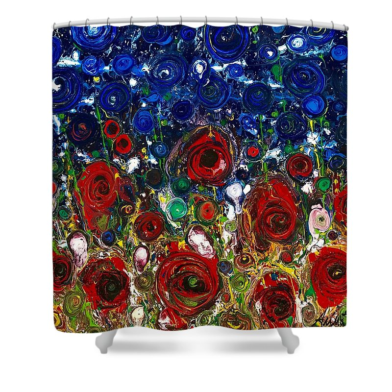 Abstract Flowers Puppies Blu Sky Red Roses Impressionist Emotions Tuscany Memories Sentimenti Ritrovati Nature Annabrunelli Anna Anuta Brunelli Shower Curtain featuring the painting Sentimenti Ritrovati by Anna A Brunelli