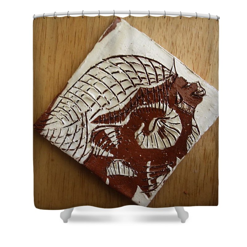 Jesus Shower Curtain featuring the ceramic art Sentinel - Tile by Gloria Ssali