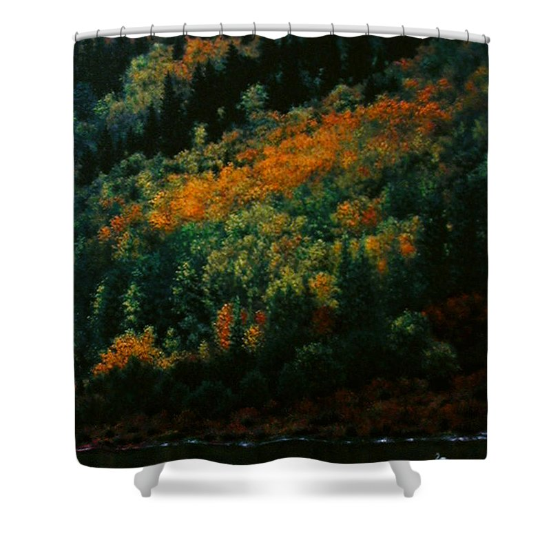 Scenic Shower Curtain featuring the painting Sentinels Of September Serenity by Stephen Lucas