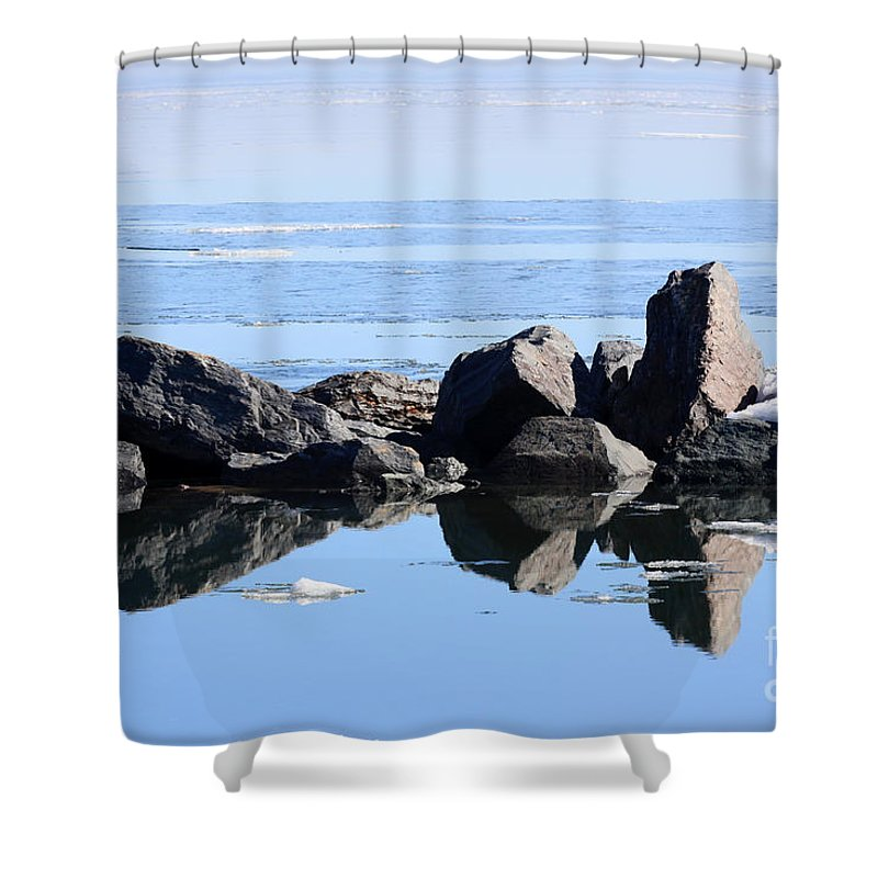 Lake Superior Shower Curtain featuring the photograph Sentinels by Rick Rauzi