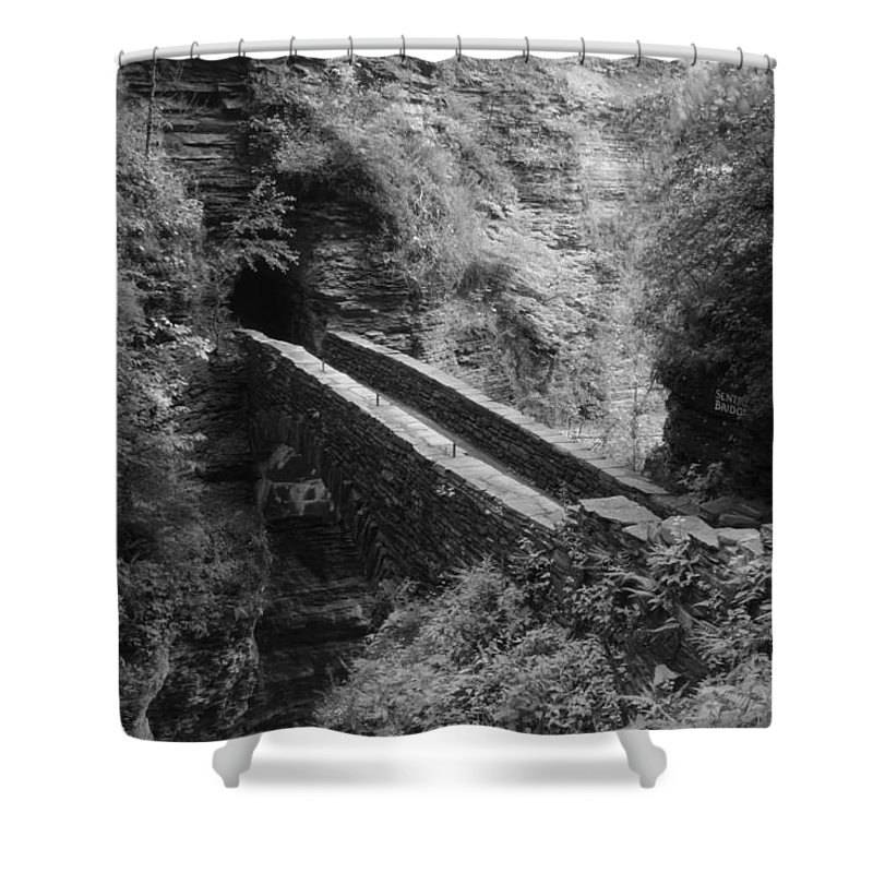 Waterfalls Shower Curtain featuring the photograph Sentry Bridge At Watkins Glen by Nunweiler Photography