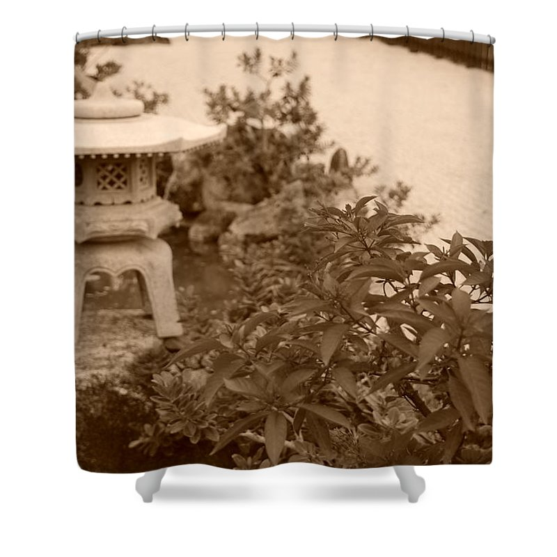 Sepia Shower Curtain featuring the photograph Sepia Japanese Garden by Rob Hans