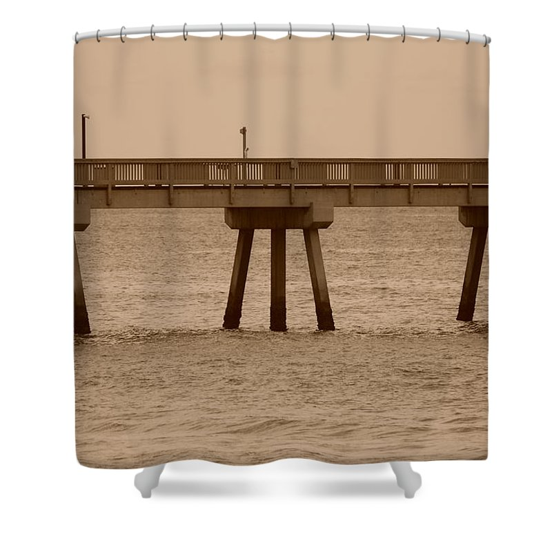 Sepia Shower Curtain featuring the photograph Sepia Pier by Rob Hans