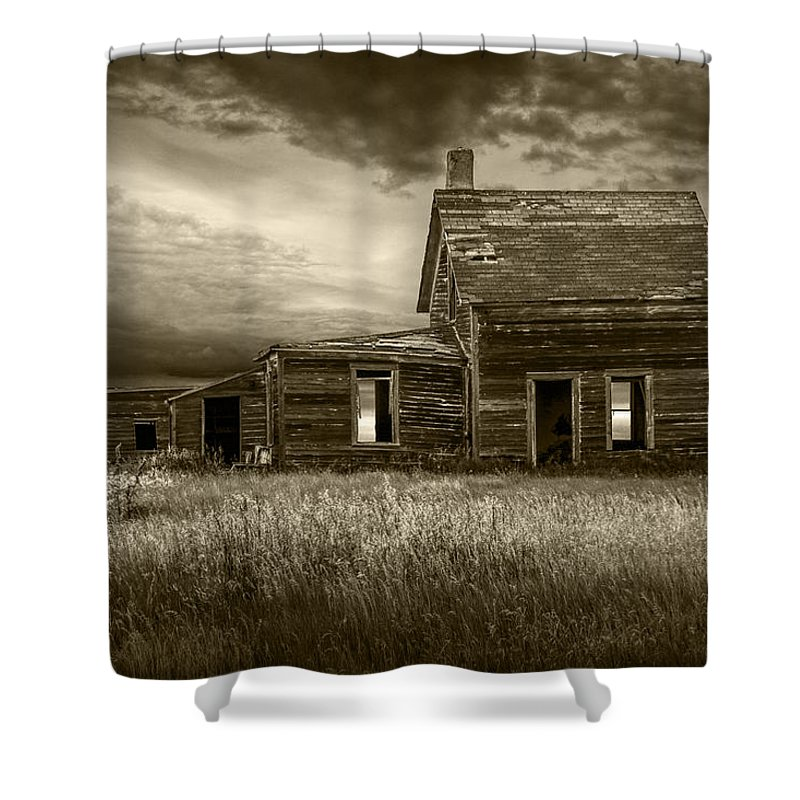 Farm Shower Curtain Featuring The Photograph Sepia Tone Of Abandoned Prairie House By Randall Nyhof